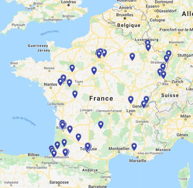 La carte de France avec tous les clubs du réseau Deklic